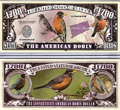 The American Robin - Connecticut State Bird 1788 Novelty Money