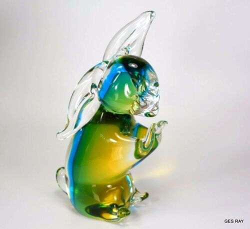 Vintage Murano Sommerso Art Glass Bunny Rabbit Figurine Sculpture