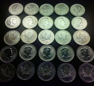 25 coins, 1 Tube of Maple Leaf Silver 2012, 1 Oz coins