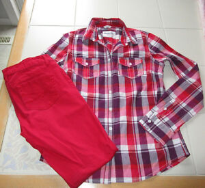 Girls Aeropostale blouse size Med & Jeggings size 2 reg *Red