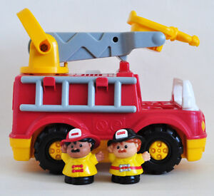 FISHER PRICE MUSICAL FIRE TRUCK w 2 FIREMEN & LADDER NICE