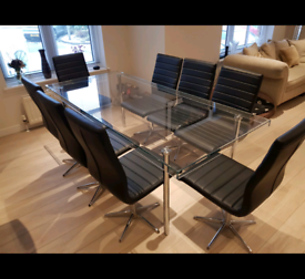 Glass table and 8 dinning chairs