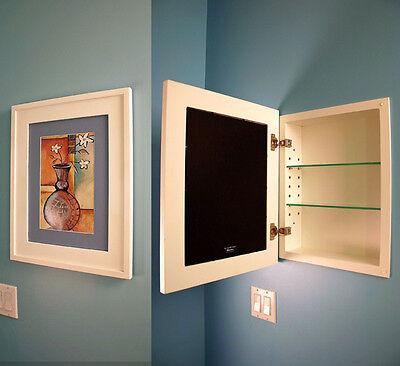 recessed medicine cabinet w/ picture frame door, no mirror, white interior (Mirror Door Medicine Cabinet)