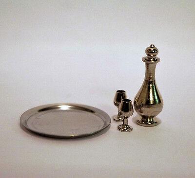 Karaffe Tablett und 2 Cognacschwenker silberfarben 1:12  Puppenstube  Krug Glas