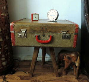 Funky wooden trunk side table
