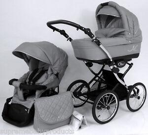 Beautiful Retro Design Classic Grey ML Baby Pram / Pushchair - 2in1.