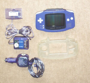 GAME BOY ADVANCE MINT INDIGO+WALL+CAR CHARGER+ CASE + ACCESSORIE