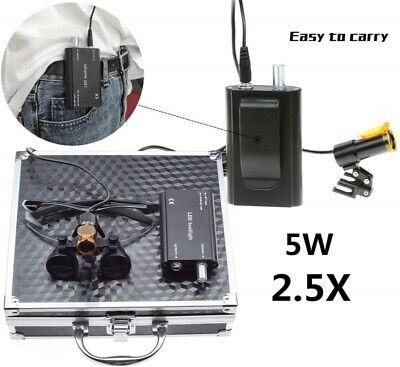 Dental 5w Led Head Light Filter Belt Clip 2.5x Binocular Loupes Box Black