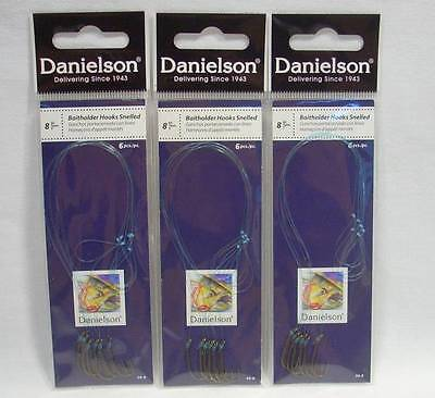 3 Packages Danielson Size 8 Snelled Baitholder Fishing Hooks Crappie Trout