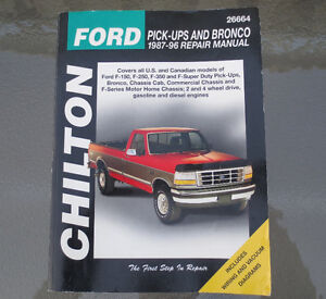 Chilton Manual - FORD 1987-96 Ford F-150. F-250, F-350 & BRONCO Kitchener / Waterloo Kitchener Area image 1