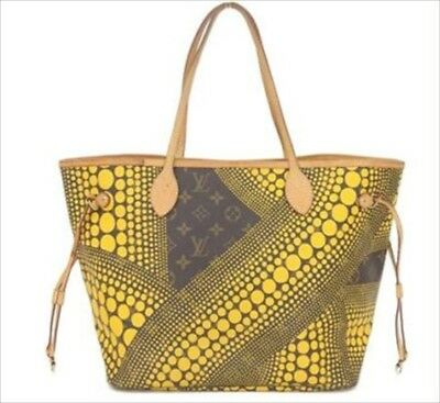 Louis Vuitton Kusama Yayoi Neverfull MM Monogram Yellow M40685 Hand Bag Used