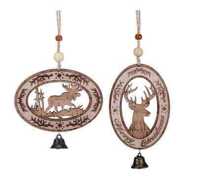 Animal Silhouette Cork Ornaments Christmas - 2 Assorted # 2020160838](Animal Ornaments)