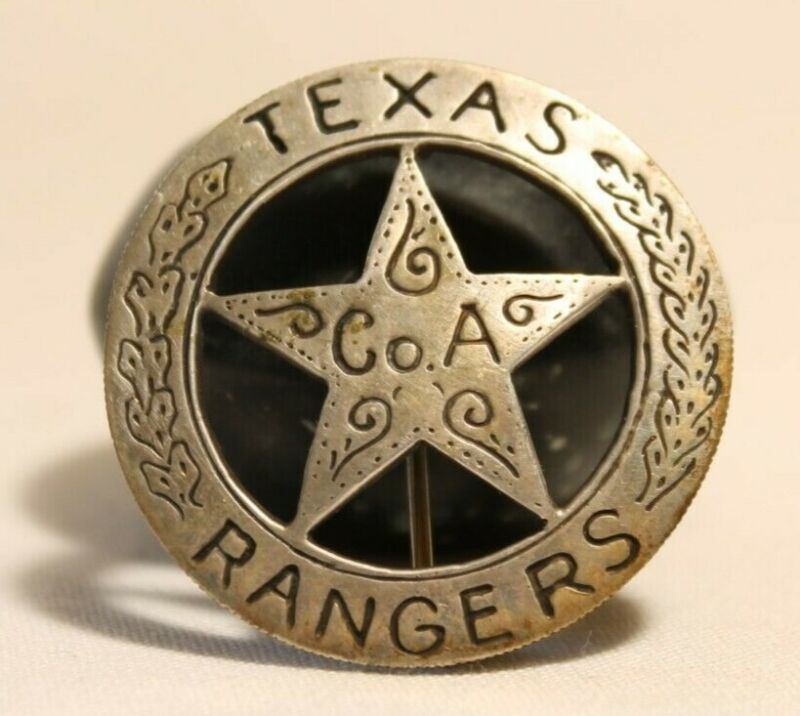 Texas Rangers Badge Company A Old West Made On Silver Mexican Peso Coin Vintage