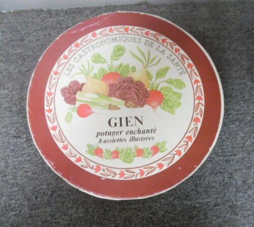"""Gien France Les Gastronomiques De La Sante Vegetable  8"""" Plates Set of 8 - NIB"""