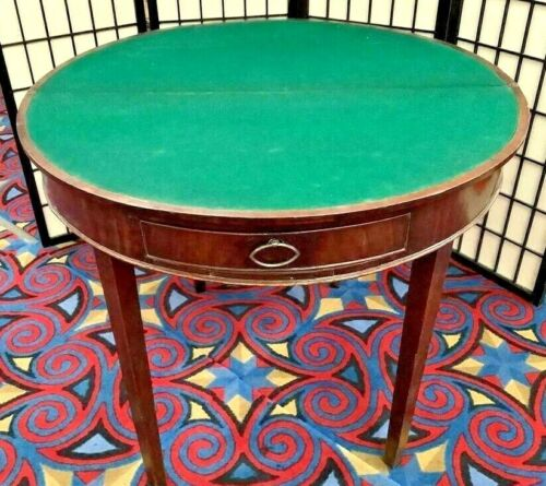 Original George III Antique Flip Top Poker Mahogany Leather Gaming Table 1790