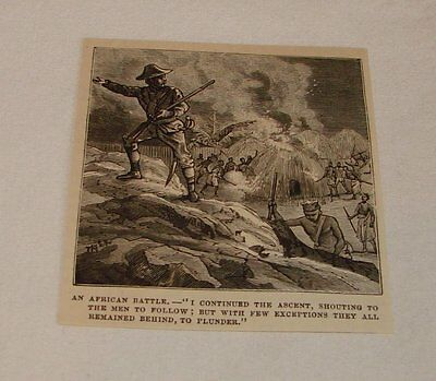 1879 magazine engraving ~ AFRICAN BATTLE, Pillaging a Village