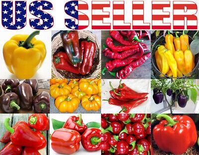 30+ ORGANICALLY GROWN Sweet Pepper MIX Seeds 12 Varieties Heirloom NON-GMO -
