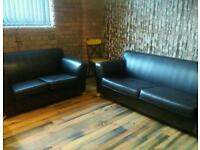 Brown faux leather 2 seater and 3 seater sofa's