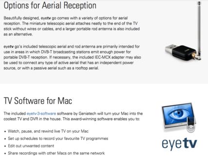 Elgato EyeTV Go TV Tuner for Apple Mac PC DVB-T USB Freeview