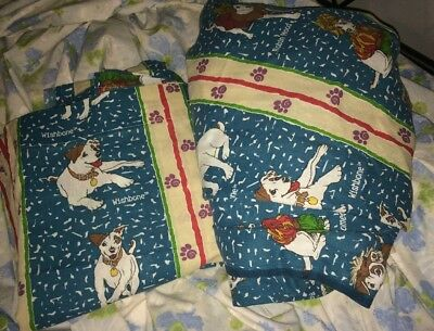 VTG 1990's Wishbone the Dog Themed Twin Flat & Fitted Bed Sheets 90s