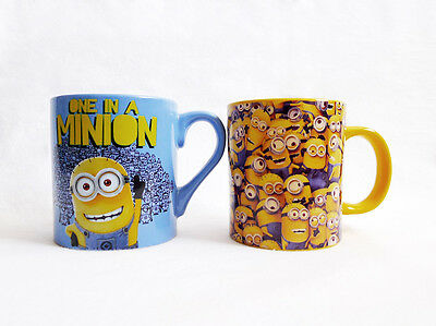 LOT 2 NEW ONE IN A MINIONS Despicable Me 14 oz CERAMIC Collectible MUGS/CUPS Set