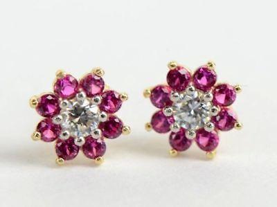 14k Yellow Gold Birthstone Colors Flower Stud Earrings *