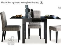 Next black gloss dining table