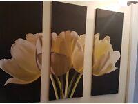 3 part Canvas Flower Print