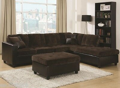 Coaster 2 Piece Fabric Sectional Sofa Set in Chocolate Reversible Couch Chaise 2 Piece Fabric Chaise