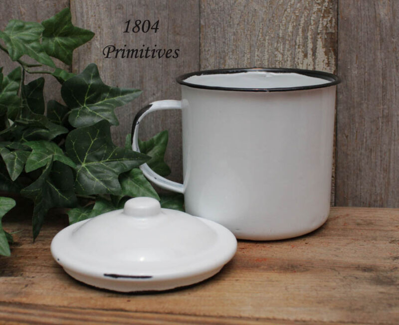 "Reproduction Enamelware White w/Black Trim Mug, Cup & Lid -- 4"" to top of lid"