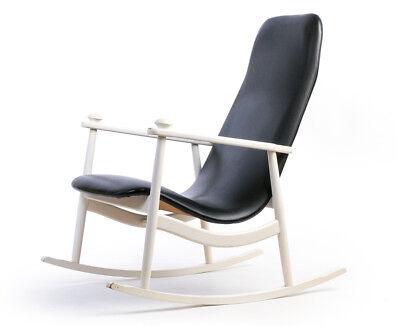 Gepolsterte Schaukel (Schaukel-Armlehn-Stuhl weiß gepolstert gebogenes Schichtholz Geflecht Sixties)