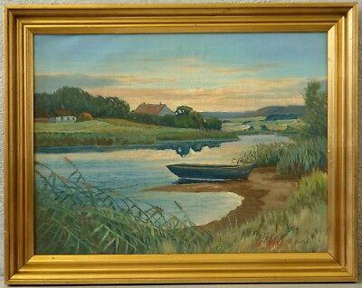 C. Balken » Ruderboot in Uferlandschaft «