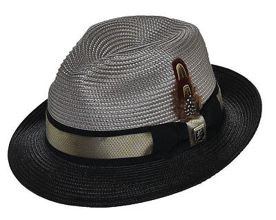 STACY ADAMS * MEN GREY & BLACK FEDORA HAT * M L * NEW BRAID STRAW DRESS SUN GOLF