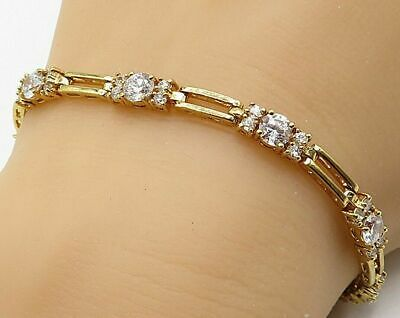 5Ct Brilliant Round Cut Diamond Vintage Tennis Bracelet 14K Yellow Gold Over