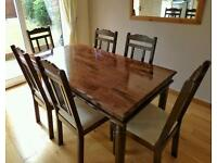 Jali Sheesham Indian Wood Dining Table and 7 Chairs
