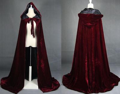 Wine red black velvet hooded cloak wedding cape Halloween wicca robe coat - Red Velvet Hooded Cloak