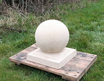 12 inch Cast stone ball finial on a 13 inch square base