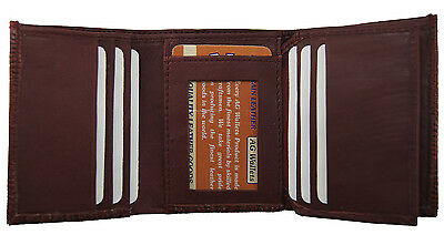 Men's Genuine Leather Snake skin Embossed Trifold Cowboy Wallet New Red
