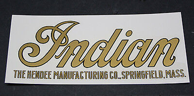 """7"""" INDIAN Motorcycle TANK DECAL early model """"HENDEE MFG"""" SCRIPT USA made! NEW!"""