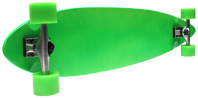 "Longboard Neon Green Pintail 9"" x 43"" Cruiser Skateboard with Green Wheels"