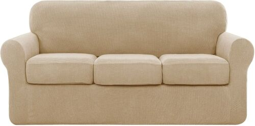 subrtex Sofa High Stretch Separate Cushion Couch Cover Slipcover (Large, Camel)