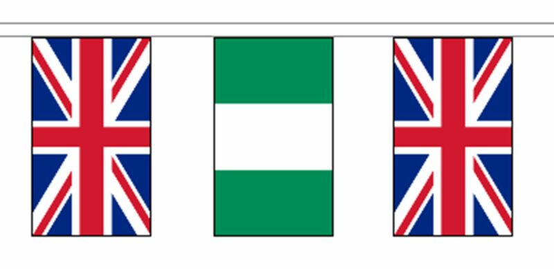 Nigeria & United Kingdom UK Polyester Flag Bunting - 10m with 28 Flags