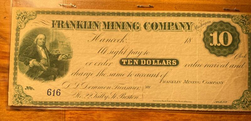 Franklin Mining Company Michigan Mining Stock Certificate