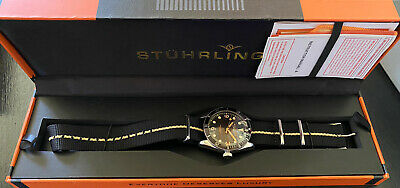 Stuhrling Forti 3958 Quartz Miyota 41mm Black NATO W/ Thin Gold Line Diver Watch