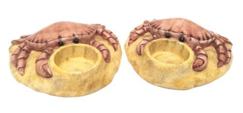 Lynn Chase Party Time Summer Crab Tealight Candle Holders Pair