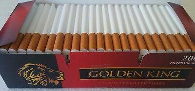 200X Empty Tobacco Cigarette Filter Tubes Golden King Filter 15 Mm King Size