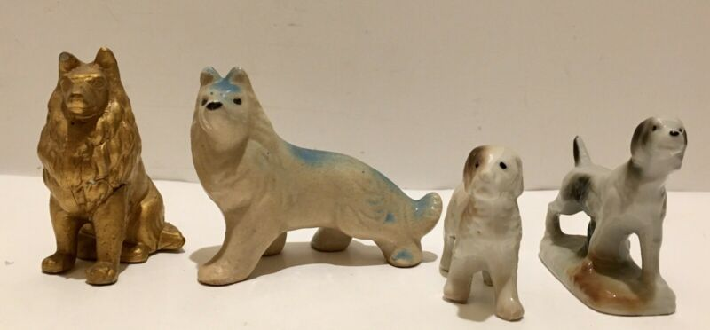 Lot of 4 Vintage Porcelain, Ceramic Dog Puppy Figurines Japan Collies Pointers