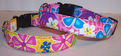 Wet Nose Designs Tropical Hawaiian Floral Dog Collar Bright Pink Yellow or Blue Designer Hawaiian Dog Collar