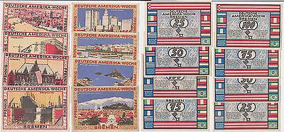 8 Banknoten Notgeld Bremen Deutsche Amerika Woche Frühjahr 1923 (121746)