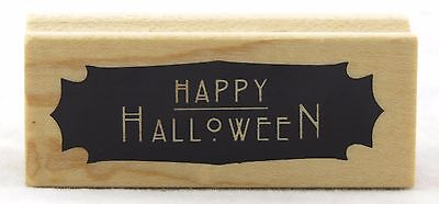 Happy Halloween Wood Mounted Rubber Stamp Inkadinkado NEW spooky party card - Inkadinkado Halloween Stamps